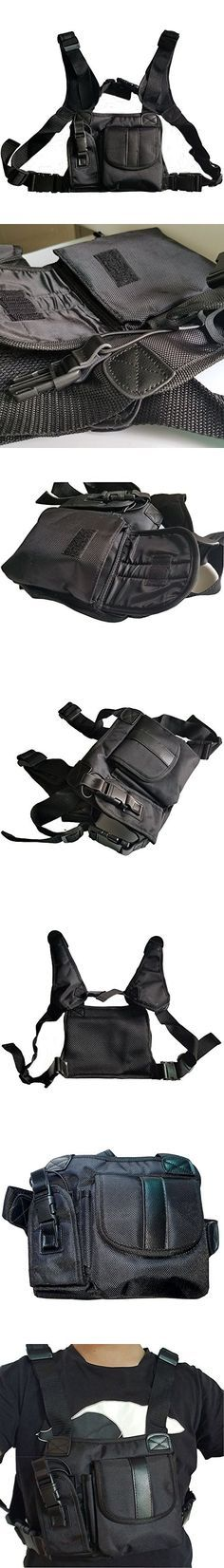 Lewong Universal Hands Free Chest Harness Bag Holsterfor Two Way Radio ( Rescue Essentials) (Leather Black)
