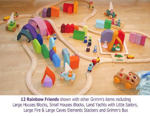 Grimm's Set of 12 Rainbow Friends Peg Dolls - Wooden Pretend Play People Figures with Storage Tray: Toys & Games