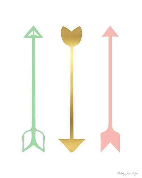 3 Arrows Pink Gold and Seafoam Green Digital by PennyJaneDesign