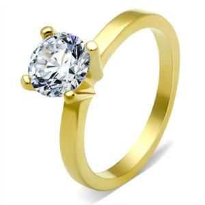 2.30 Carat Gold Tone Round Solitaire Cubic Zirconia Engagement Ring | Hope Chest Jewelry