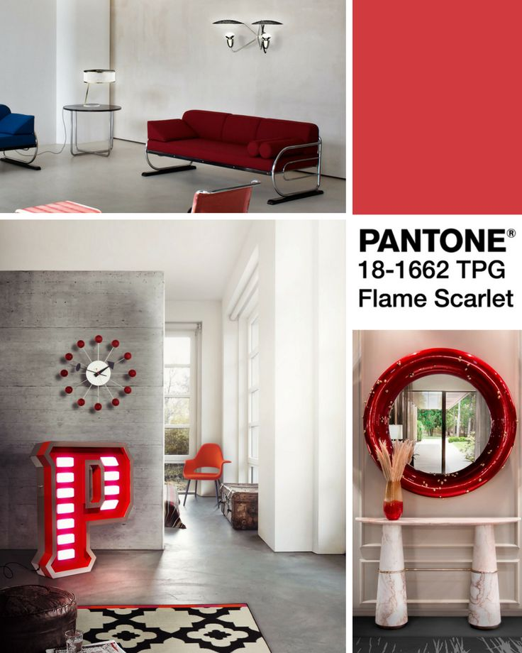 Mood Board- The Best of Pantone Fall Colors with Flame Scarlet  | www.contemporarylighting.ey | #contemporarylighting #lightingdesign #pantone