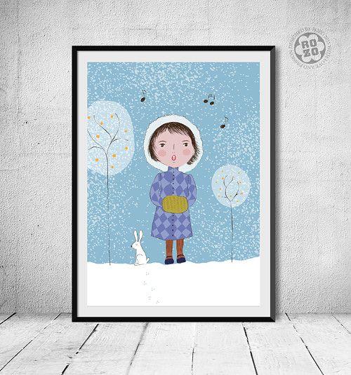 kolednice a sněžný zajíc // tisk autorské grafiky (formát A4) / Zboží prodejce rozo | Fler.cz