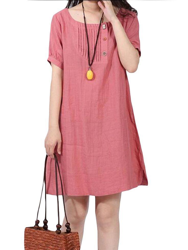 Casual Women Solid Short Sleeve O-Neck Pockets A-Line Dress