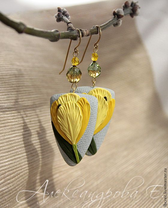"""Серьги """"Жёлтые тюльпаны"""" из полимерной глины - серьги из полимерной, крупные серьги, украшения александровой"""