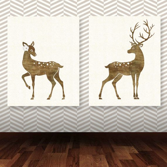 Deer Art Print, Set fo two Deer printable, Nursery Decor, INSTANT DOWNLOAD deer nursery print, deer couple, printable set, deer print
