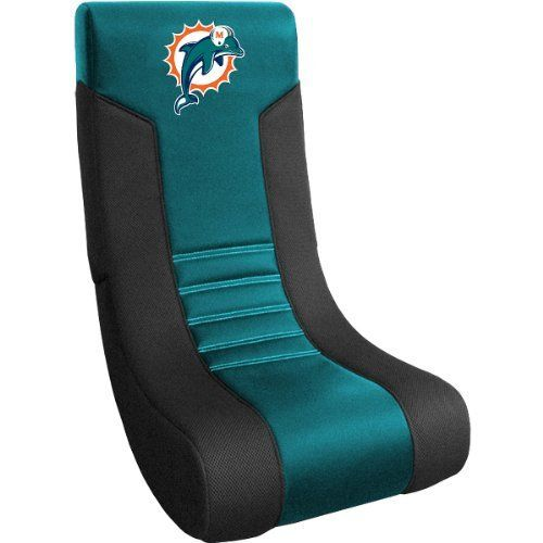 "Baseline Miami Dolphins Collapsible Video Chair by Baseline. $99.99. Colorful team graphics applied to the seatback using a high-pressure heat-transfer processDimensions: W 33"" x H 39"" x D 38"". Folds in half for easy moving and storing. 50% microfiber, 50% mesh video chair. Officially licensed Made in China. Lounge in comfort while you're watching the game in this NFL® collapsible video chair from Baseline. Built for durability and comfort, it features a micr..."