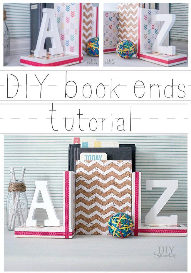 DIY {A to Z} Book Ends tutorial at diyshowoff.com