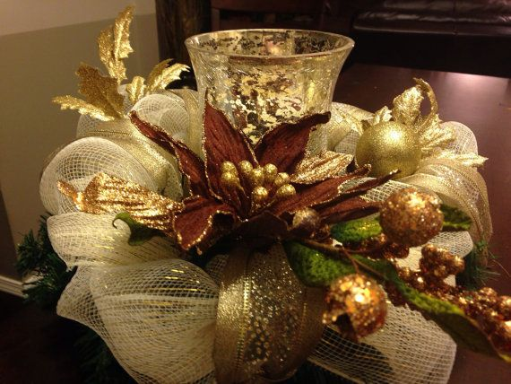 Gold Deco Mesh Centerpiece with Mercury Glass Candle Holder