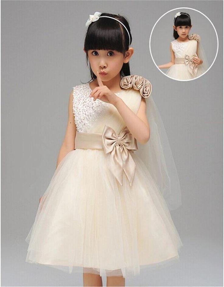 Elegante Boutique de Cristal Meninas Vestido Para A Festa de Cerimônias de Ombro Único Oblíqua Rendas Roupa Dos Miúdos Traje Da Princesa Arco Meninas(China (Mainland))