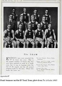 """Kappa Alpha Psi initiate Frank Summers was one of eighteen members of the Indiana University Track team awarded the letter """"I"""" in 1915."""