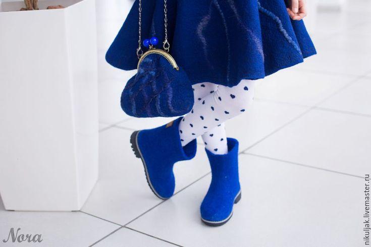 Купить Валяные полусапожки для девочек Синее настроение - синий, однотонный, синие сапожки, зимние сапоги