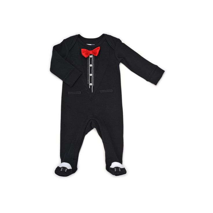 Baby Boy Vitamins Baby Tuxedo Coverall, Size: 3 Months, Black