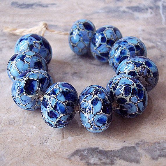 handmade lampwork glass beads 2 pcs silvered ivory periwinkle dark blue 15