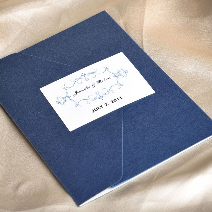 Elegant Floral Art Decor Monogram Blue Pocket Discount Wedding Invitation  Sets EWPI013