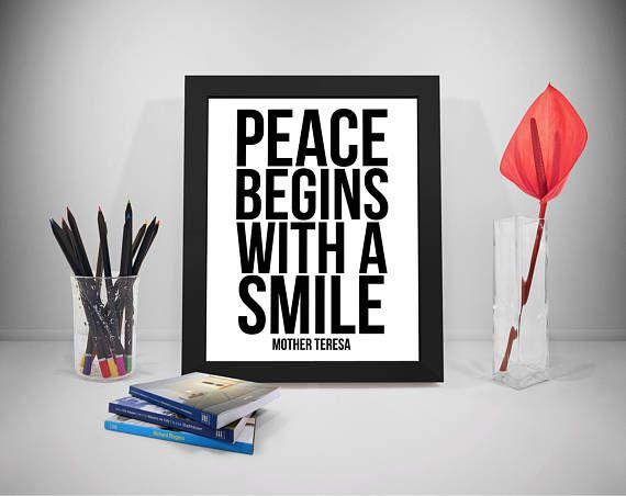 Smile Printable Quotes Peace Sayings Mother Teresa Print