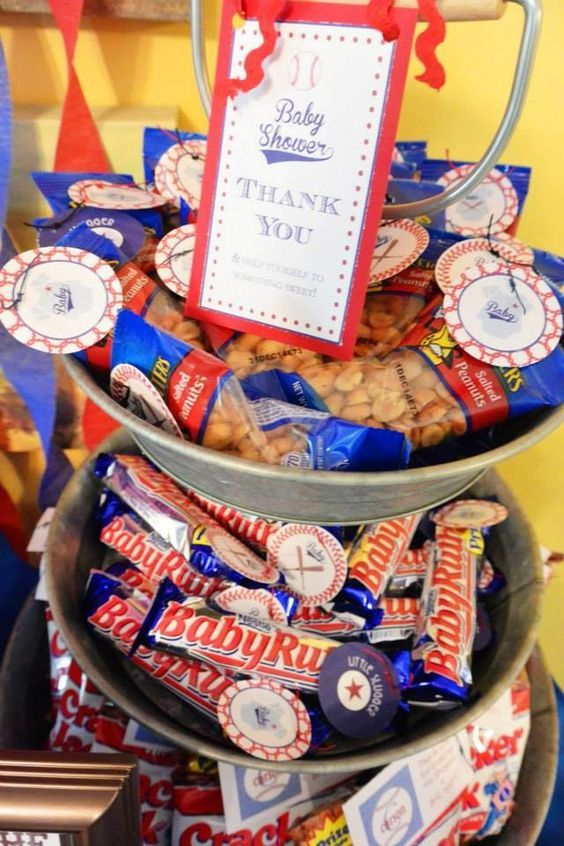 cute favors baseball theme. Cracker Jacks, BabyRuth, and nuts: