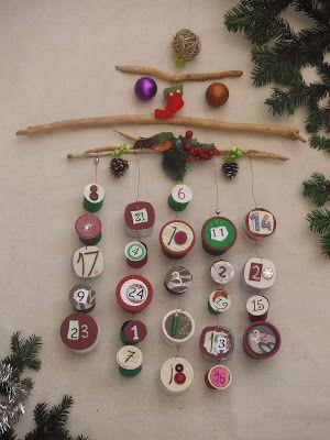 joli calendrier de l'avent fait main avec bouteille plastique rouleau sopalin branches par mimi vermicelle tout un univers créatif et poetique