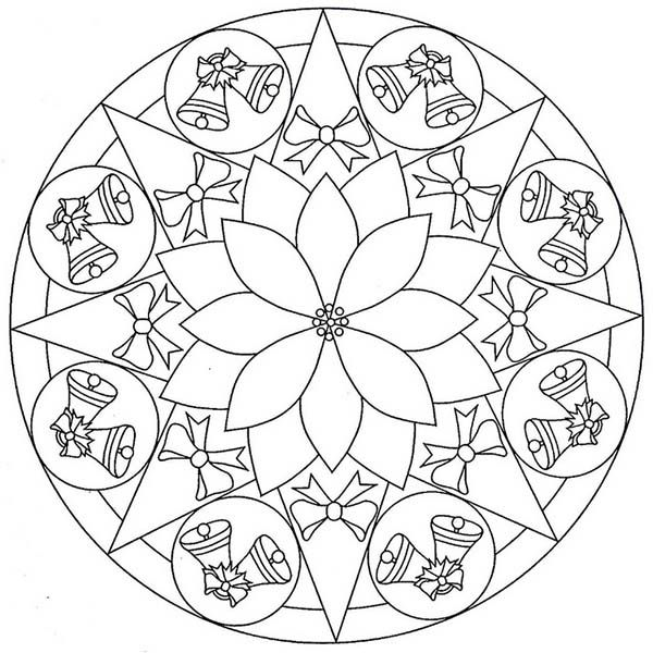 mandala christmas twin bell coloring pages