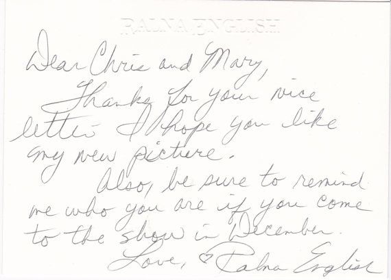 Ralna English autograph signed autographed hand - written card + free Print / She won a local battle of the bands beating BUDDY HOLLY