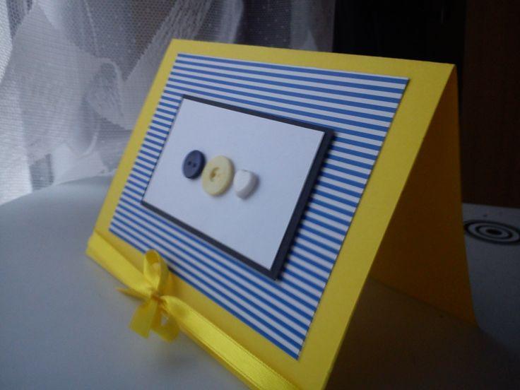 navy button card