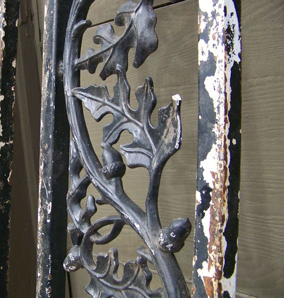 Oak Leaf And Acorn Patterned Wrought Iron Post Our House