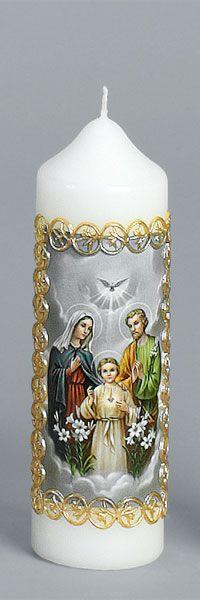 Liturgische Kerze, 165x50, Fotodruck, Wachsborte, Hl. Familie