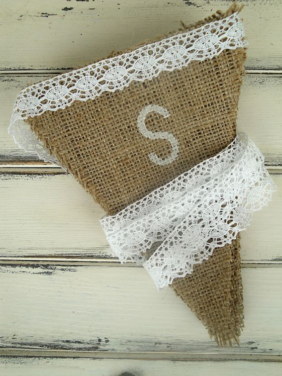 burlap banner with painted letters and lace ribbon
