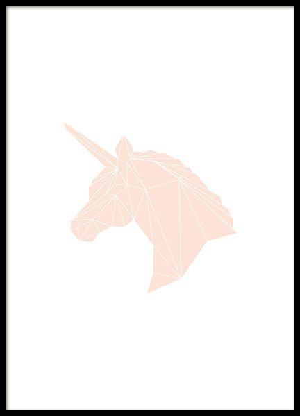 Herrliches Graphic art-Poster mit rosa Einhorn mit geometrischem Muster. Schönes Kinderposter, das sicher auch vielen Erwachsenen gefällt. Es sorgt für herrliche Akzente an der Wand oder im Regal, egal ob im Kinderzimmer oder in Ihrem Schlafzimmer. www.desenio.de