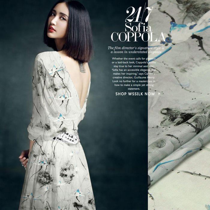 Простой , но элегантный! 140 см в ширину 8 мм живописи тушью шелк шифон ткань для лето лонг-бич платья рубашки одежды мягкие тонкие ткани