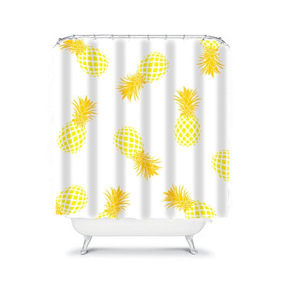 yellow shower curtain, pineapple shower curtain, yellow bathroom decor, kids shower curtain, childrens shower curtain, fun shower curtain, yellow decor  I am a textile designer with over 30 years of experience designing textiles. I am excited to be able to offer for sale my designs printed on high quality household products.  This fun shower curtain design is a unique and original design. You will not find this product anywhere else. My designs are printed on very strong durable polyester…