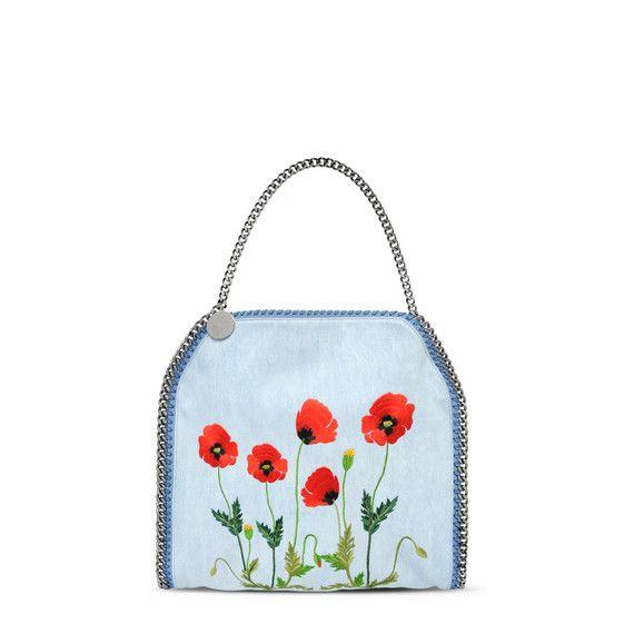 Kleine Tote Bag Falabella Aus Denim Mit Pflanzen Stickerei - Stella Mccartney Official Online Store - FS 2016