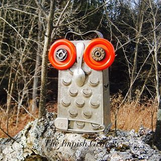Felicia Hootenanny #TheImpishGrin #owl #recycledowl #recycledart #handmade #folkart #mixedmedia #assemblageart #foundart #upcycling #reuse #reclaim #rustic #grater #buttons
