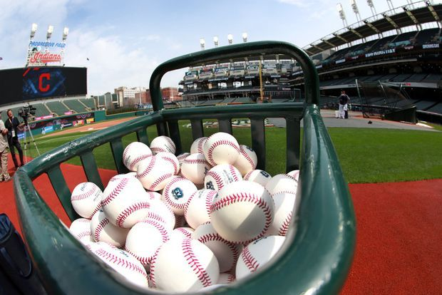 Getting ready for the home opener. The baseballs are  ready for batting practice before the Cleveland Indians home opener at Progressive Field on Tuesday, April 11, 2017. (Lynn Ischay/The Plain Dealer)