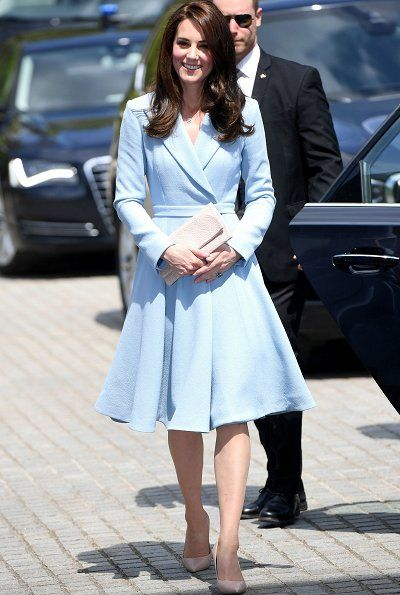 The Duchess selected a bespoke pale blue Emilia Wickstead coatdress for the day. It's a 'classic Kate' look, HRH has long favoured bespoke coatdresses for significant events, they have become something of a 'go to' option over the years. Blue is one of Kate's favourite colours when it comes to her sartorial choices - it's also one of the colours of the Luxembourg flag.
