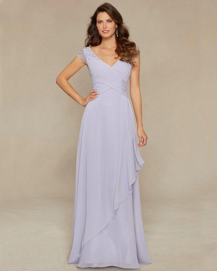Стиль 71335 Фиолетовый Морской Латте Шифон Дешевые мать невесты Платья Cap Рукавом V-образным Вырезом Женихов Мама Платье С Длинным 2016 новый