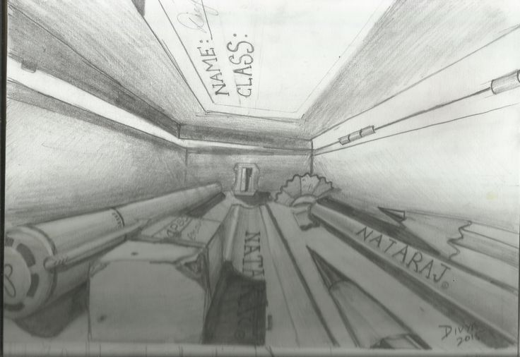 Imagine you are inside a pencil box, draw the view.