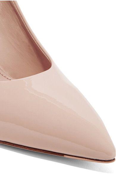 Miu Miu - Canvas-trimmed Patent-leather Pumps - Beige - IT38.5