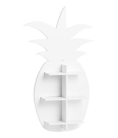 White. Pineapple-shaped wooden shelf with pre-drilled holes for hanging. Screws not included. Size approx. 1 3/4 x 7 1/2 x 16 1/4 in.