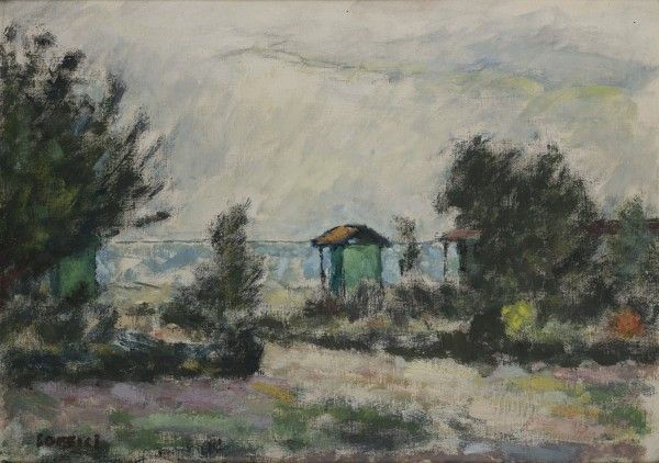 "Ardengo Soffici (Firenze 1879 - Forte dei Marmi 1964),  ""Paesaggio Marino"".  Oil on canvas applied on panel  70 x 50 cm.  Signed MutualArt"