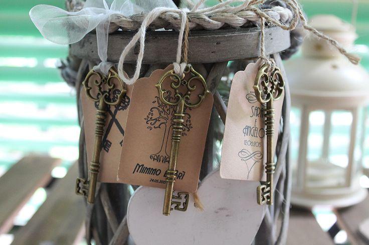 Segnaposti - chiave con tag personalizzabile - #okspeciaday #segnaposti #matrimonio #segnaposto #chiave #tag #shabby #matrimonio #personalizzato #madeinitaly #artiianato
