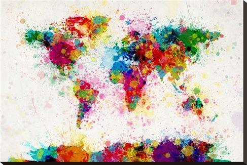 Weltkarte aus Farbspritzern Leinwand von Michael Tompsett bei AllPosters.de