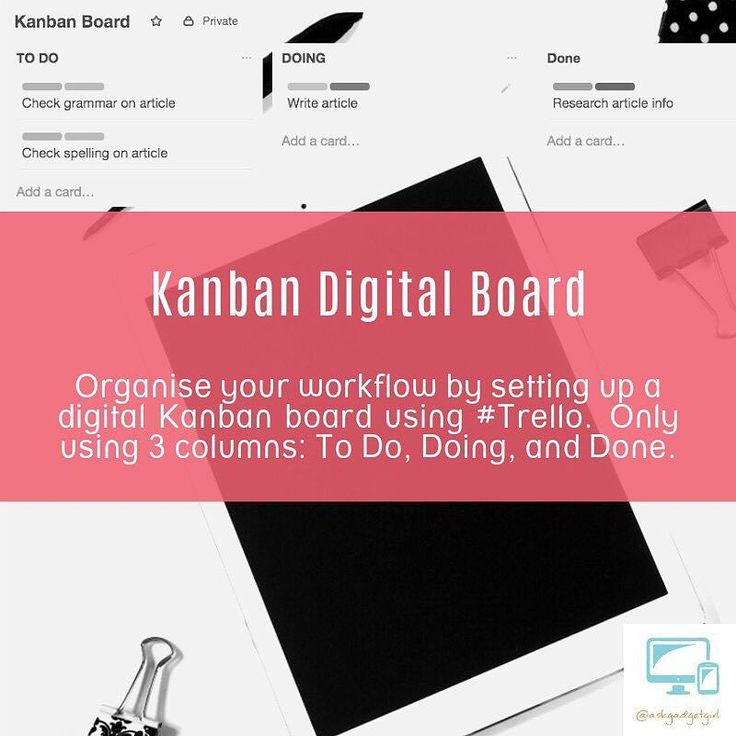 Organise your workflow by setting up a digital Kanban board using #Trello. Only using 3 columns: To Do Doing and Done.  #Trello #kanban #digital