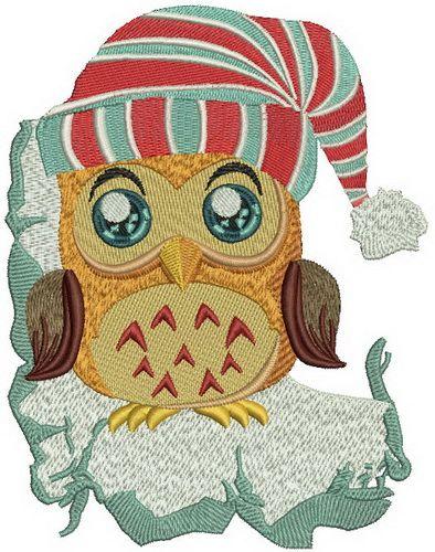 Owl in striped hat machine embroidery design. Machine embroidery design. www.embroideres.com