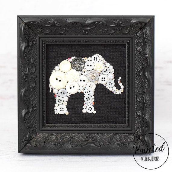 White+Elephant+Framed+Button+Art+Elephant+от+PaintedWithButtons