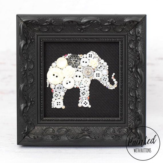 White+Elephant+Framed+Button+Art+Elephant+от+PaintedWithButtons