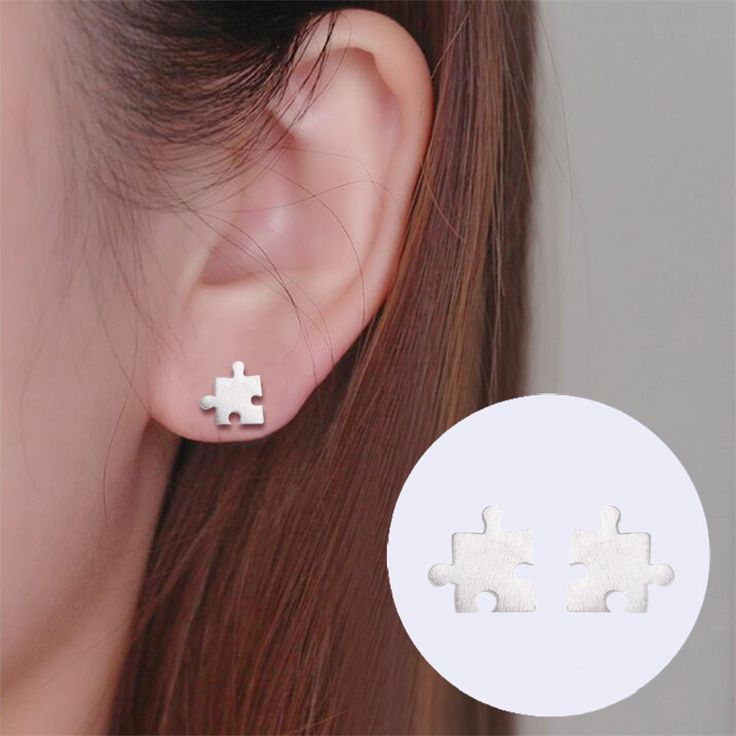 Hfarich 925 Sterling Silver Earrings Tiny Puzzle Earring for Women Classic Korea Jewelry Jigsaw Puzzle Jewelry. Click visit to buy #FineJewelryEarring #Jewelry #Earring