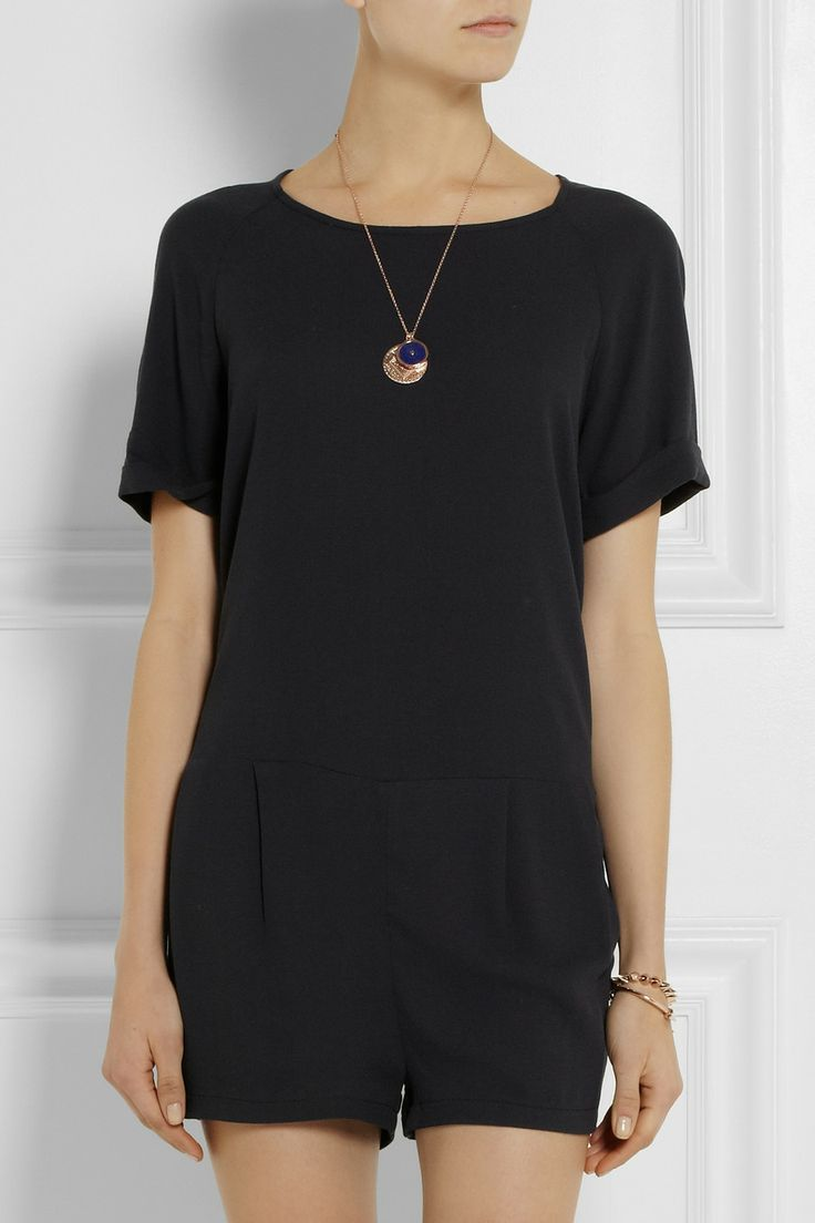 Black t shirt playsuit - American Vintage Rayne Split Back Crepe Playsuit