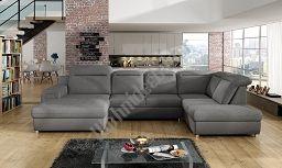 Couchgarnitur PANAMA XL U Sofa mit Schlaffunktion, Bettkasten und beweglichen Kopfstützen, Couch Polsterecke Ecksofa