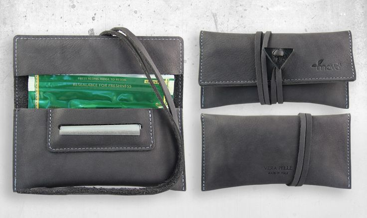 Tobacco pouch grey velvet.  #tobaccopouch #madeinitaly #realleather #rollingtobacco