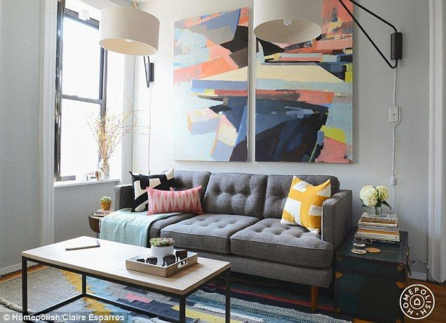 New York City: Three male fashion bloggers wanted to lose the 'college frat house vibe' of their living room. A new sofa, coffee table (both West Elm) and art by Shane Neufeld transformed the space, while dramatic lighting was wall-mounted to save on table space (use the slidey tool to compare the before and after)